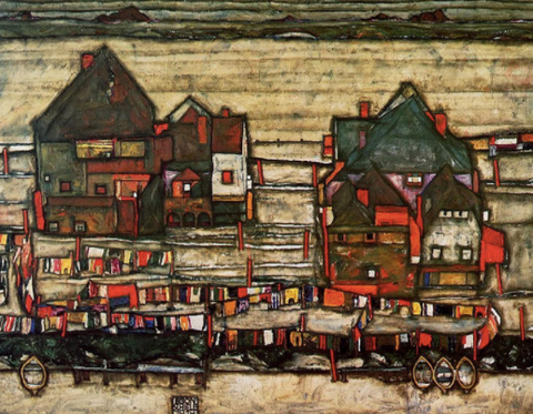 Houses with Laundry (Seeburg) by Egon Schiele