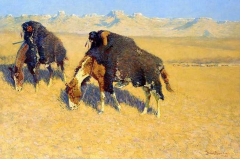 Indians Simulating Buffalo by Frederic Remington