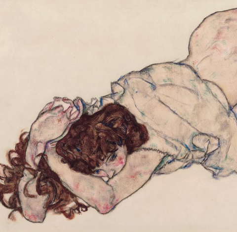 Kneeling Girl Resting on Both Elbows by Egon Schiele
