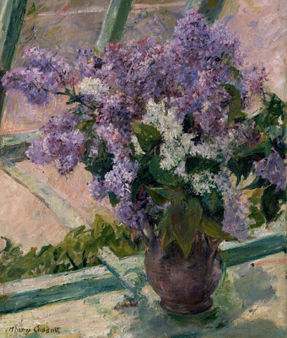 Lilacs in a Window (Vase de Lilas a la Fenetre) by mary cassatt