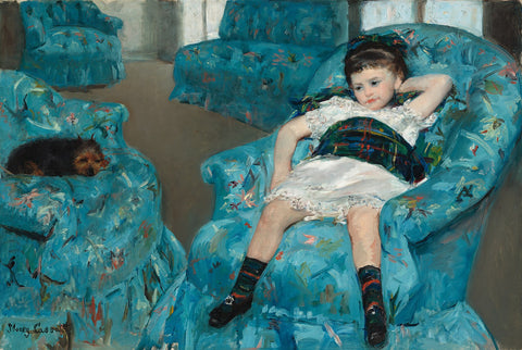 Little Girl in a Blue Armchair Painting by Mary Cassatt