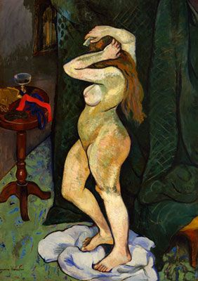 Nude Arranging Her Hair Painting by Suzanne Valadon