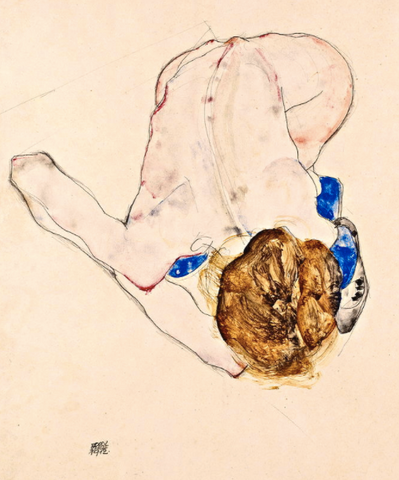 Nude with Blue Stockings Bending Forward by Egon Schiele