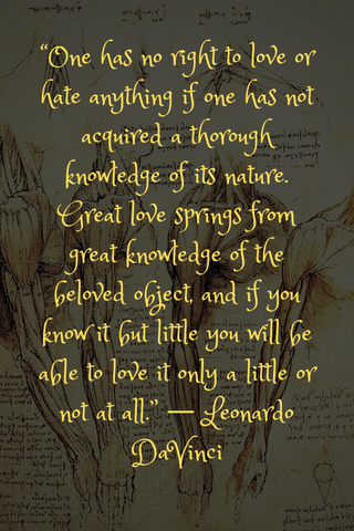 """One has no right to love or hate anything if one has not acquired a thorough knowledge of its nature. Great love springs from great knowledge of the beloved object, and if you know it but little you will be able to love it only a little or not at all."" ― Leonardo DaVinci"