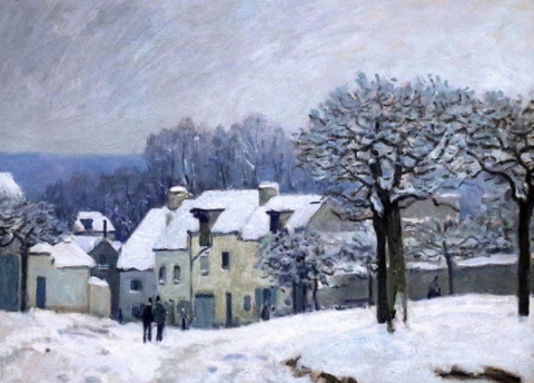 Place du Chenil in Marly - Snow Effect by Alfred Sisley - Famous Painting