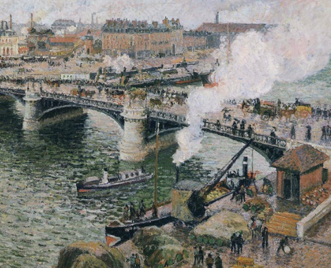 Pont Boieldieu in Rouen, Rainy Weather by Camille Pissarro