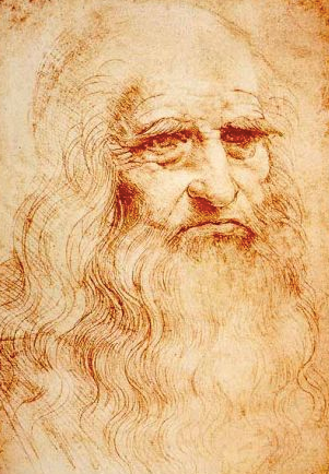 Portrait of a Man in Red Chalk Drawing by Leonardo da Vinci