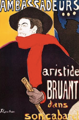 Poster Advertising Aristide Bruant in His Cabaret at the Ambassadeurs, 1892 Henri de Toulouse-Lautrec