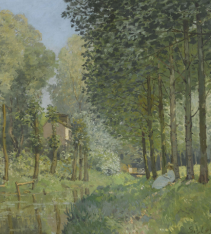 Rest along the Stream. Edge of the Wood by Alfred Sisley