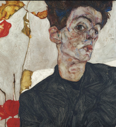 Self-Portrait with Chinese Lantern Plant by Egon Schiele