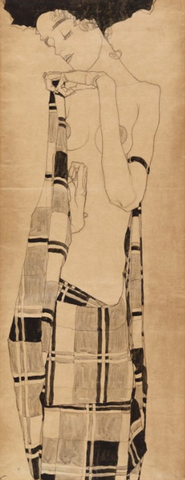 Standing Girl in a Plaid Garment by Egon Schiele