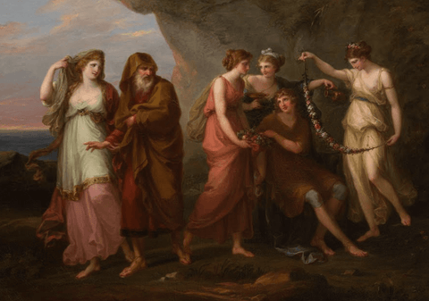 Telemachus and the Nymphs of Calypso Painting