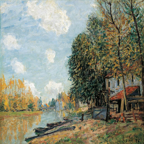 The Banks of the Loing by Alfred Sisley - Famous Painting