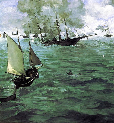 """The Battle of the USS """"Kearsarge"""" and the CSS """"Alabama"""" by Édouard Manet"""