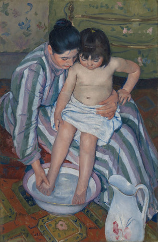 The Child's Bath Painting by Mary Cassatt