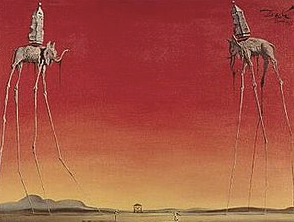 The Elephants Painting by Salvador Dali