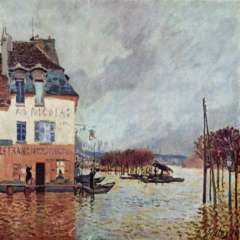 The Flood at Port-Marly by Alfred Sisley - Famous Paintings