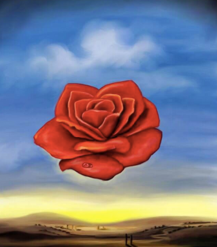 The Meditative Rose Painting by Salvador Dali
