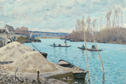 The Seine at Port-Marly, Piles of Sand by Alfred Sisley - Famous Painting