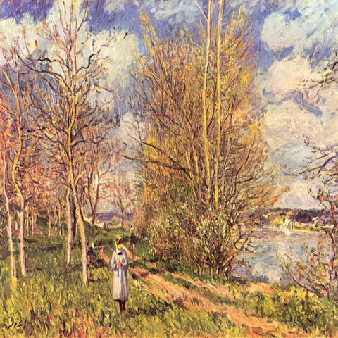 The Small Meadows in Spring by Alfred Sisley - Famous Paintings