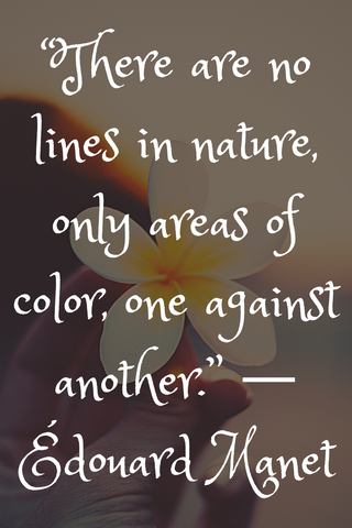 """There are no lines in nature, only areas of color, one against another."" ― Édouard Manet"