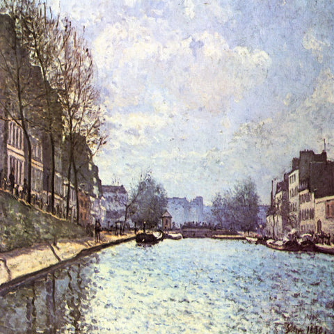 View of the Canal Saint-Martin by Alfred Sisley - Famous Painting