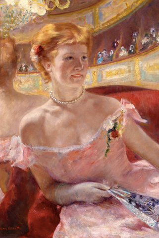 Woman with a Pearl Necklace in a Loge by mary cassatt