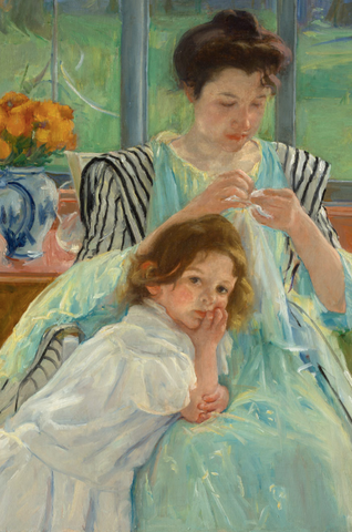 Young Mother Sewing Painting by Mary Cassatt