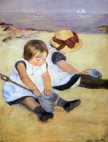 children playing on the beach by mary cassatt