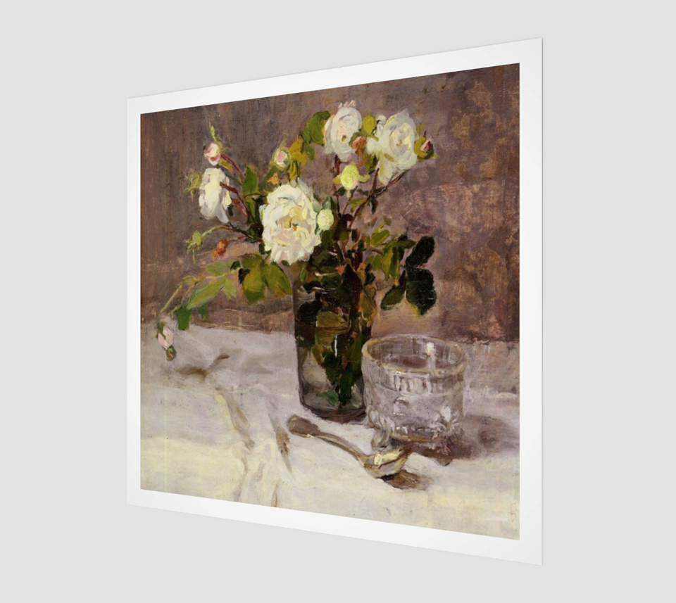 Roses in a Glass by Eva Gonzalès | Fine Art Paintings
