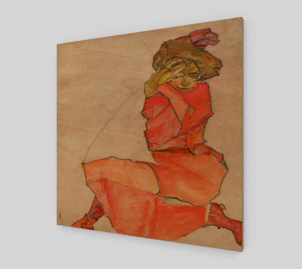 Kneeling Female in Orange-Red Dress by Egon Schiele