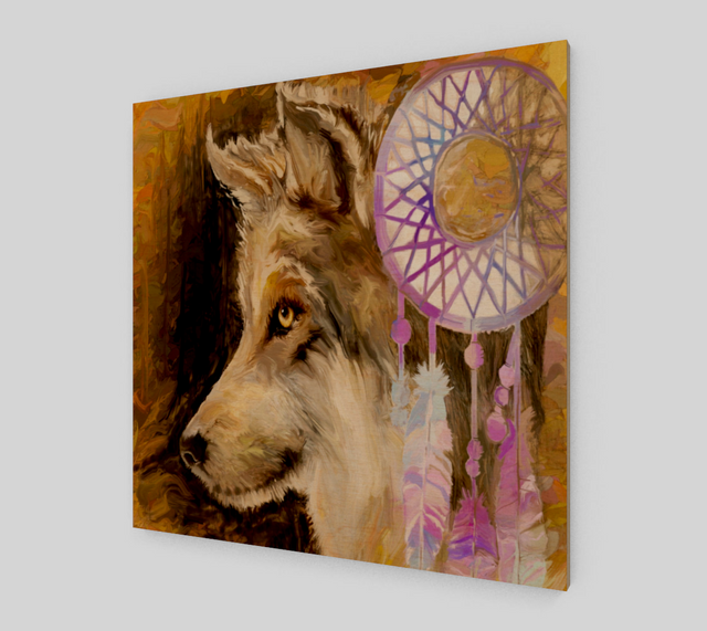 Wolf Dream Catcher Painting On Canvas For Sale {Art Prints}