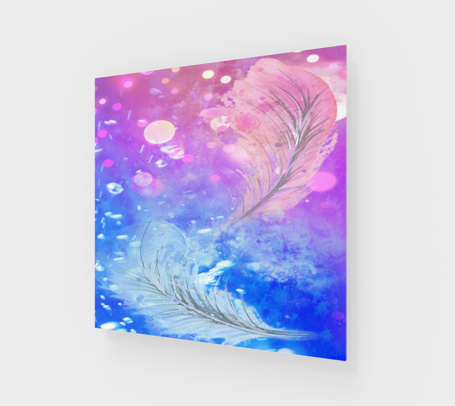 Abstract Colorful Blue & Pink Feathers Modern Acrylic Wall Art