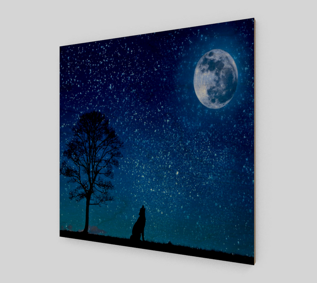 Wolf Howling At The Moon {Wolf Paintings On Canvas For Sale}