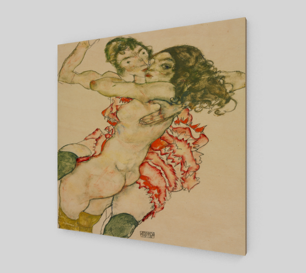 Two Women Embracing by Egon Schiele