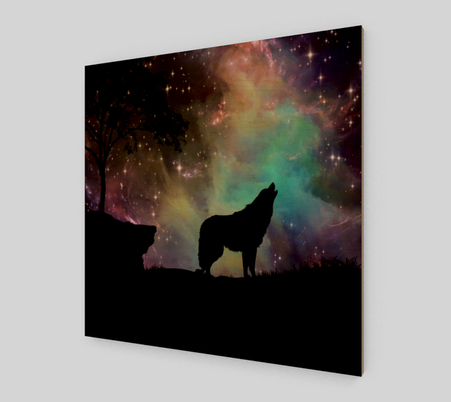 Wolf Howling At Night {Wolf Paintings On Canvas For Sale}