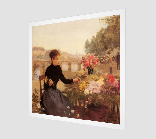 A Parisian Flower Market Painting by Victor Gabriel Gilbert