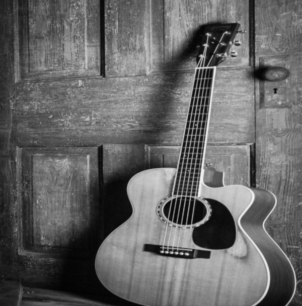 Acoustic Guitar - Black And White Photo
