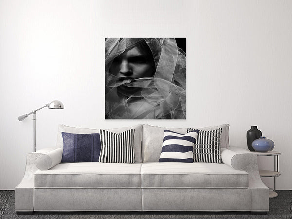Woman With The White Scarf Black And White Photography Print For Sale