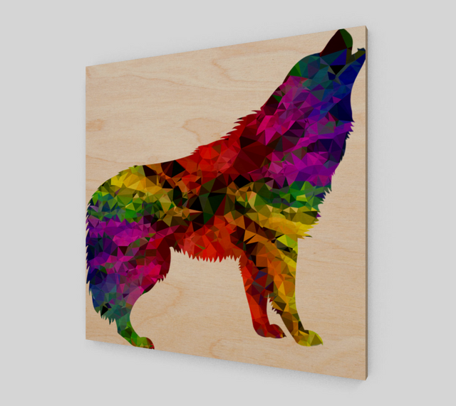 Wolf Low Poly Painting On Canvas - Art Prints For Sale