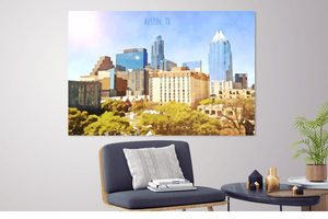Austin Skyline Print - Downtown Skyline View Of Austin Texas [Museum Quality Fine Art Prints] - Fine Art