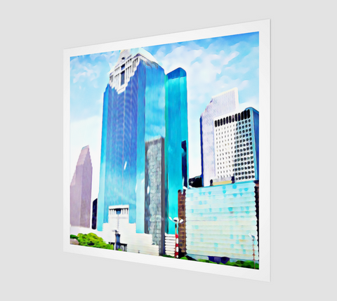 Houston-Skyline-Drawing-Downtown-Skyscrapers