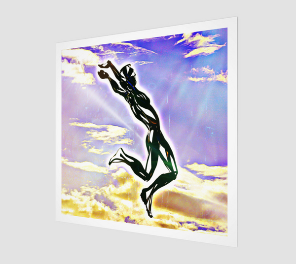 Buy famous artwork A Man Jumping abstract art- An abstract painting of a man jumping from the clouds with his hands high