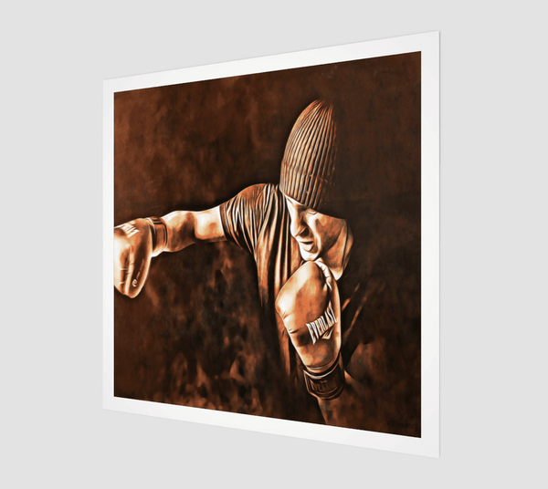 Buy famous artwork The Fighter Throwing A Jab - A painting of a fighter throwing a jab