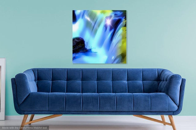 Buy famous artwork The Waterfall Painting - A painting of water falling down from rocks