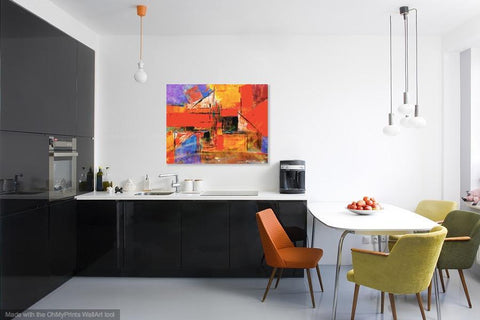 Buy famous artwork Abstract Expressionism Artists - Cubism Orange Painting - An abstract cubic orange line painting