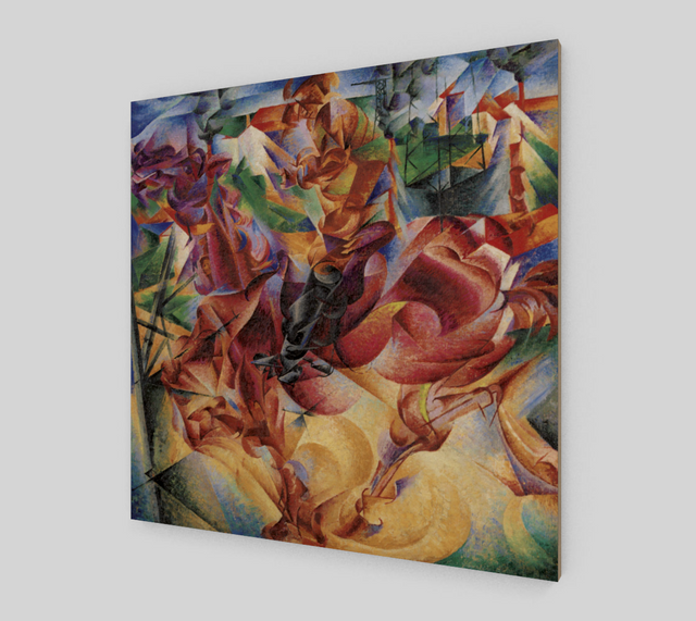 Buy famous artwork Elasticity painting by Boccioni Umberto - An abstract painting with a multitude of lines and shapes using multiple colors