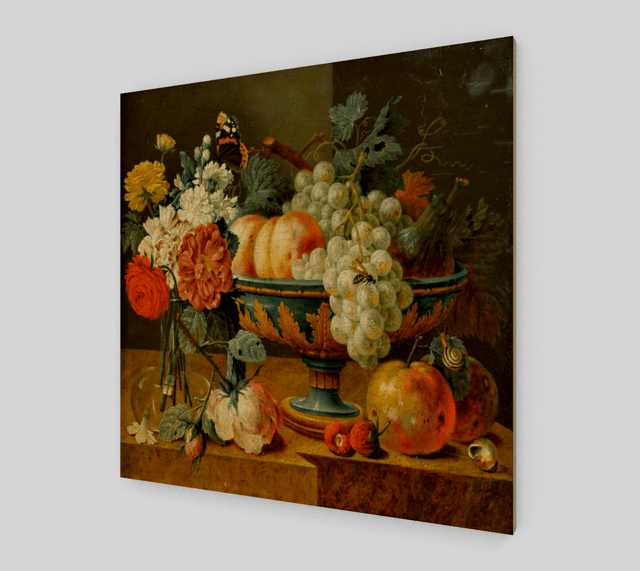 Buy famous artwork Heem Fruit bowl with flowers by Jan Davidsz de Heem - A painting of different fruits in a big bowl