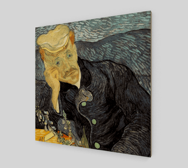 Buy famous artwork Dr. Gachet Portrait by Vincent Van Gogh - A Portrait painting of Dr. Gachet wearing a hat with his hand supporting his face
