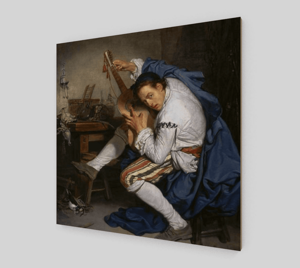Buy famous artwork The Guitarist by Jean Baptiste Greuze - A painting of man playing the guitar